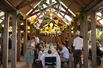 Wedding tablescape in barn venue in Cornwall