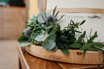 Green foliage and succulents on naked wedding cake