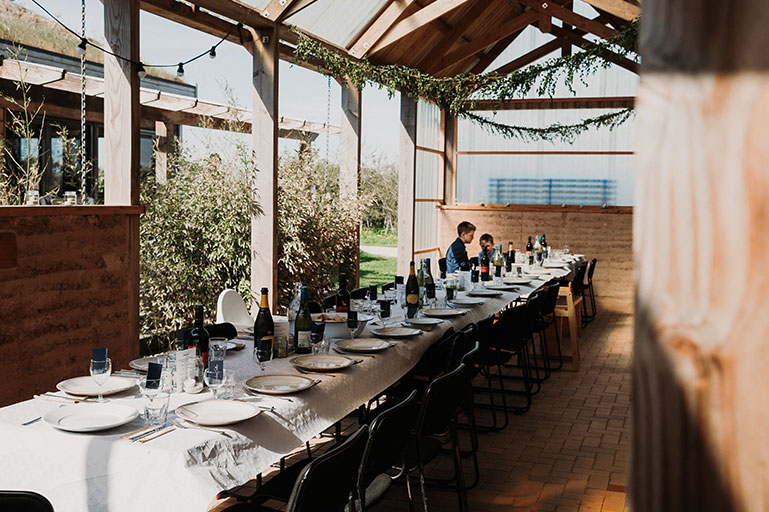 Barn wedding venue tablescape at Eco Park in Cornwall