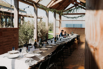 Barn wedding venue tablescape at Eco Park in Cornwall
