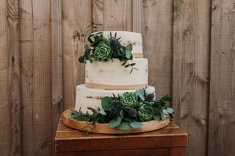 Naked wedding cake with green foliage and succulents