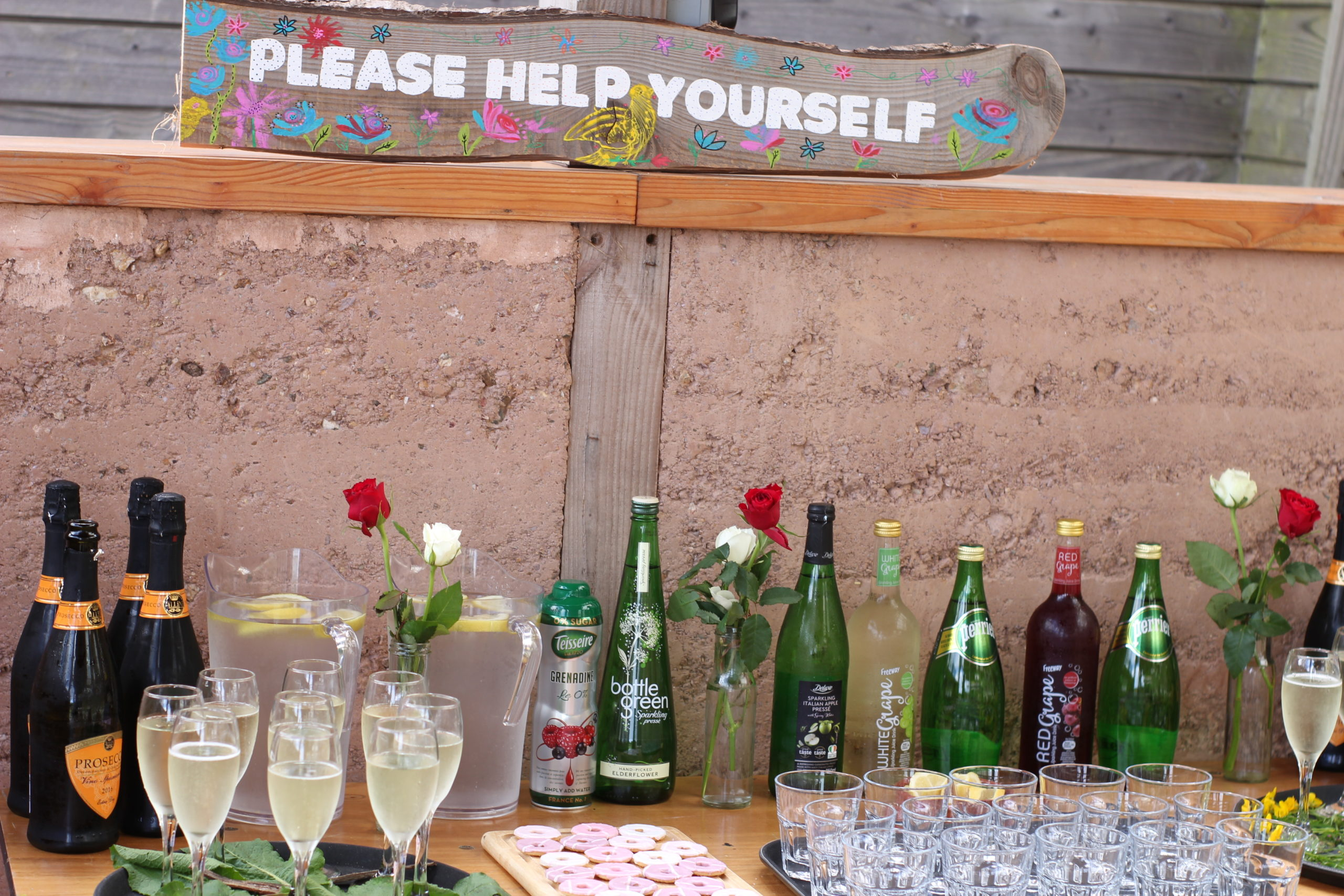 Wedding day please help yourself drinks station