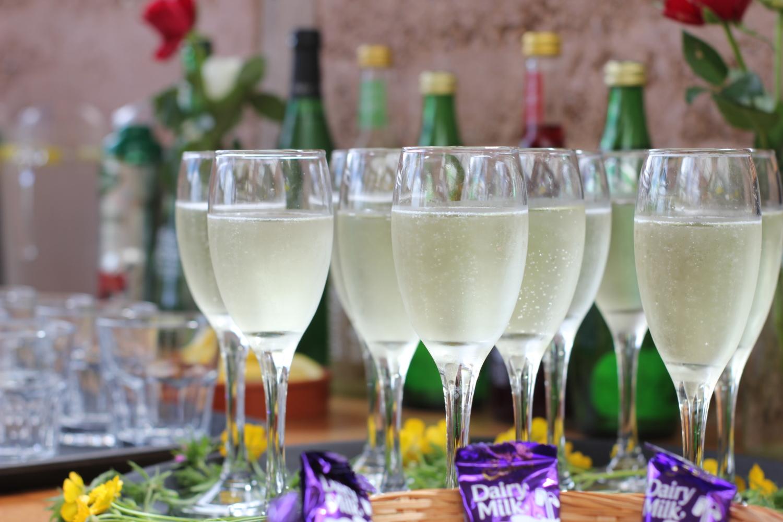 Wedding day champagne flutes