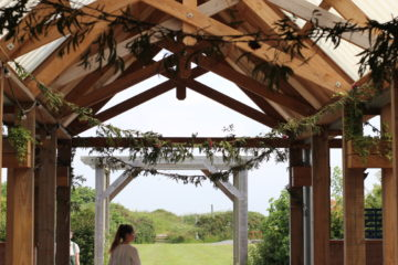 Wedding barn natural decoration foliage at Eco wedding venue