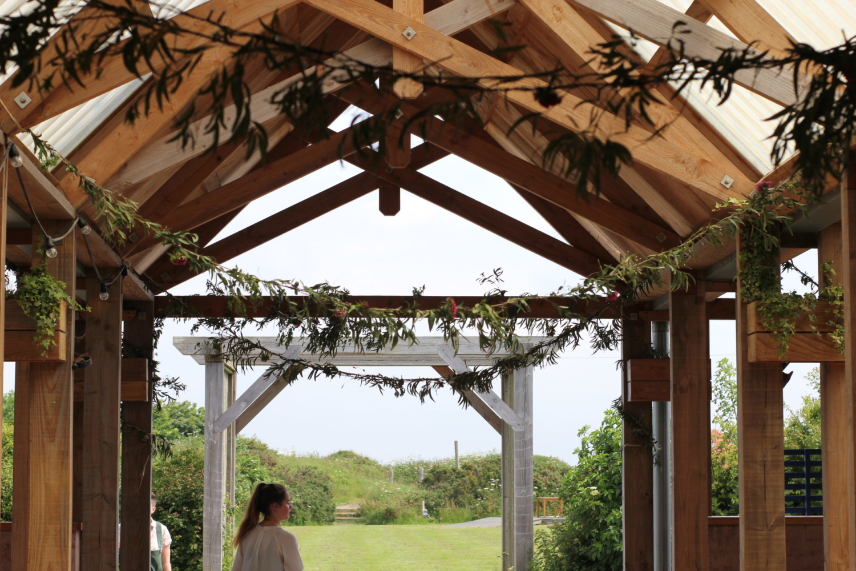 Wedding barn natural decoration foliage at Eco wedding venue