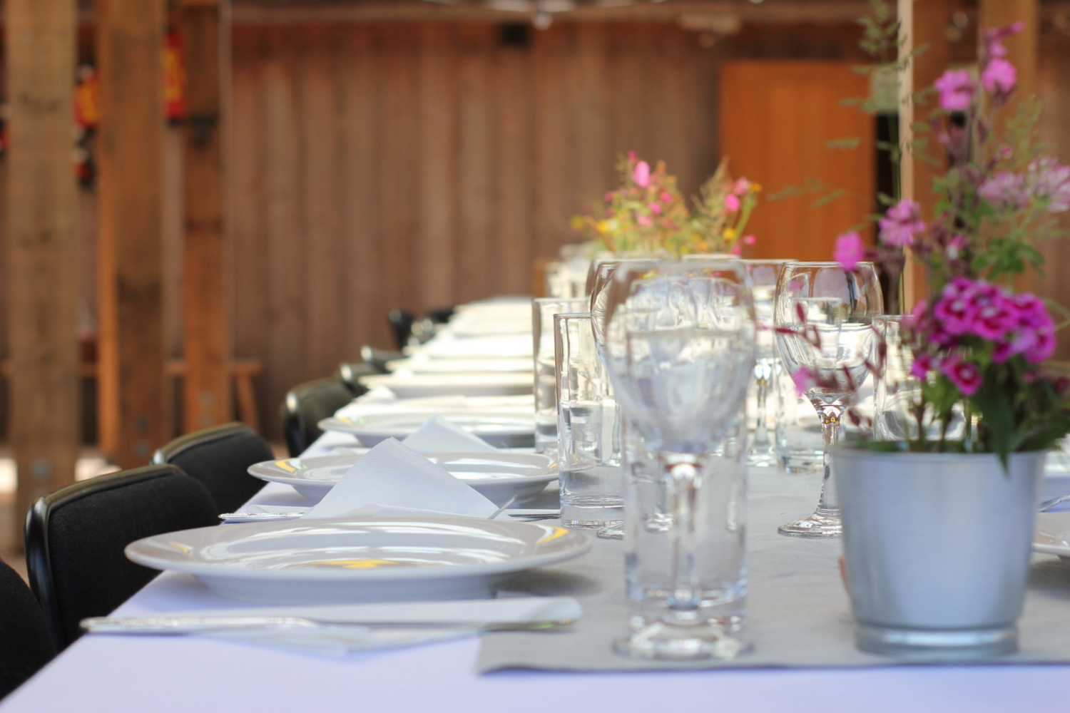 Bench table seating at Eco wedding venue