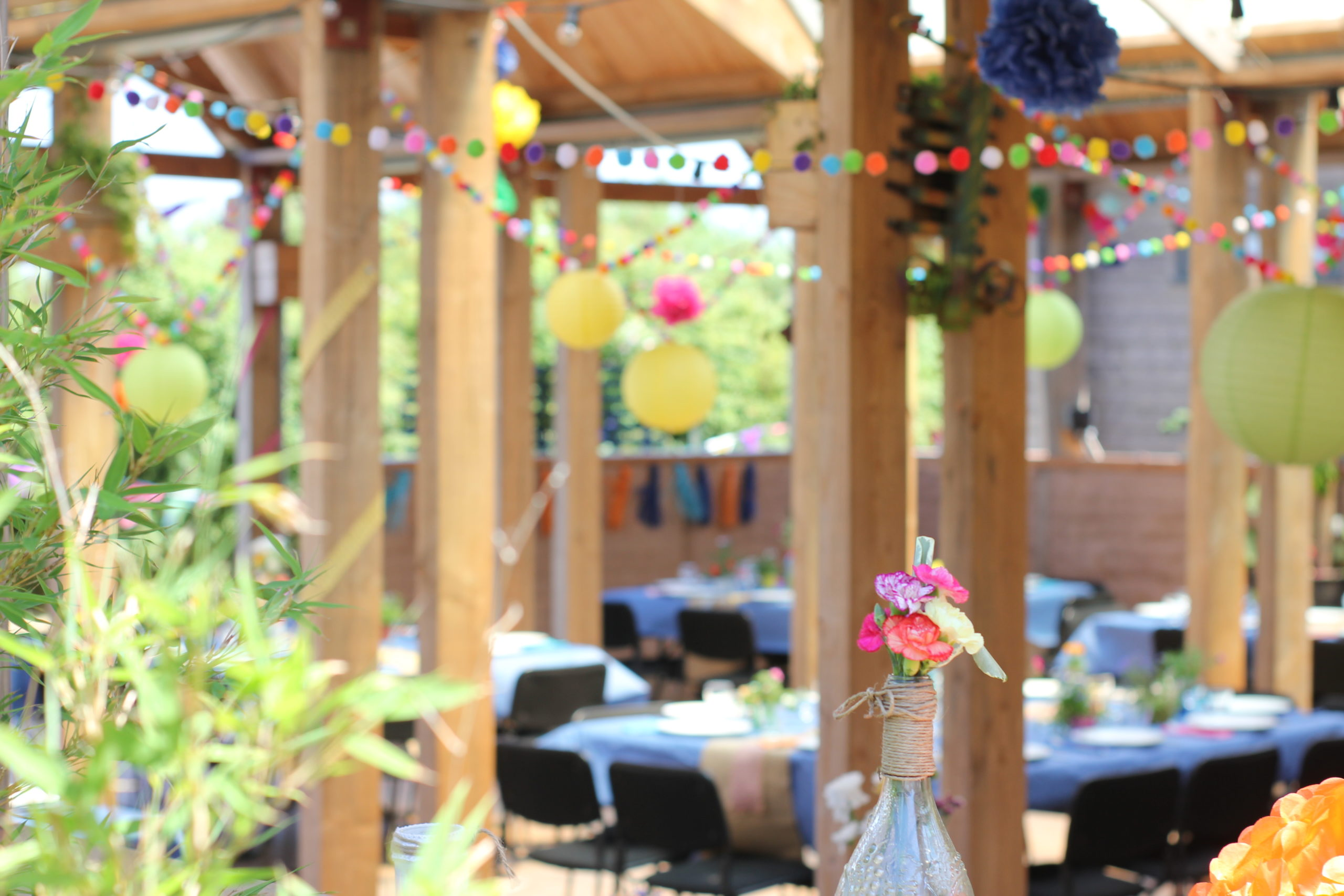 Colourful wedding venue decoration at Eco wedding venue in Cornwall