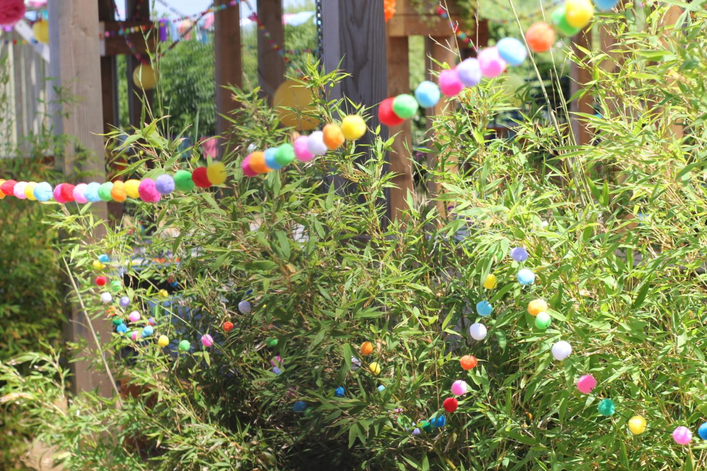 Colourful pom-pom wedding decorations
