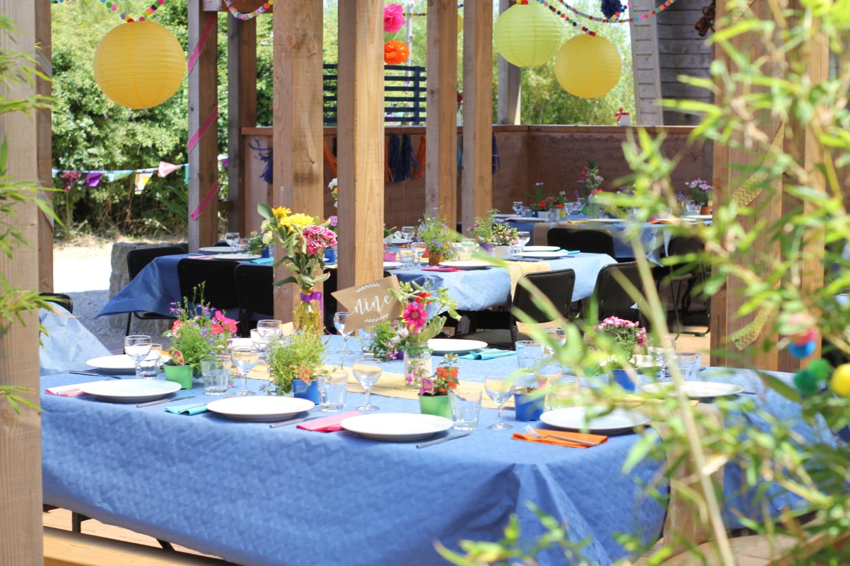 Wedding tablescape at Eco wedding venue in Cornwall