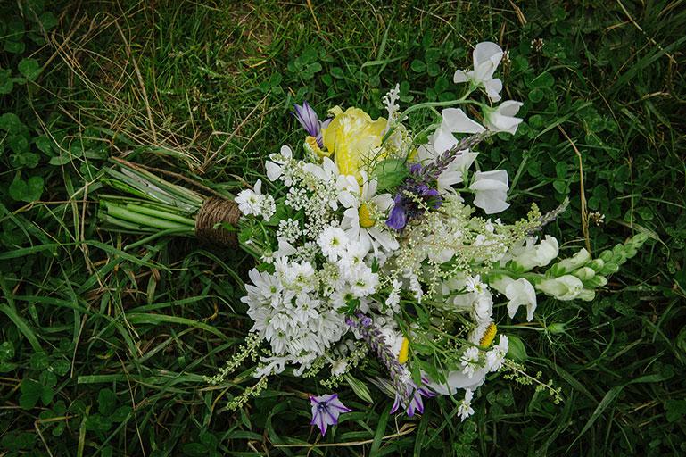 Wild Cornish wedding flowers bouquet