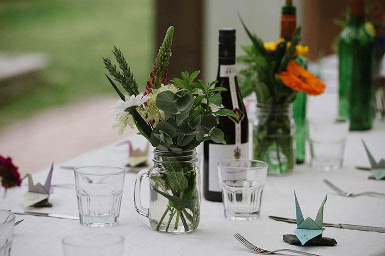 Wedding tablescape natural greenery