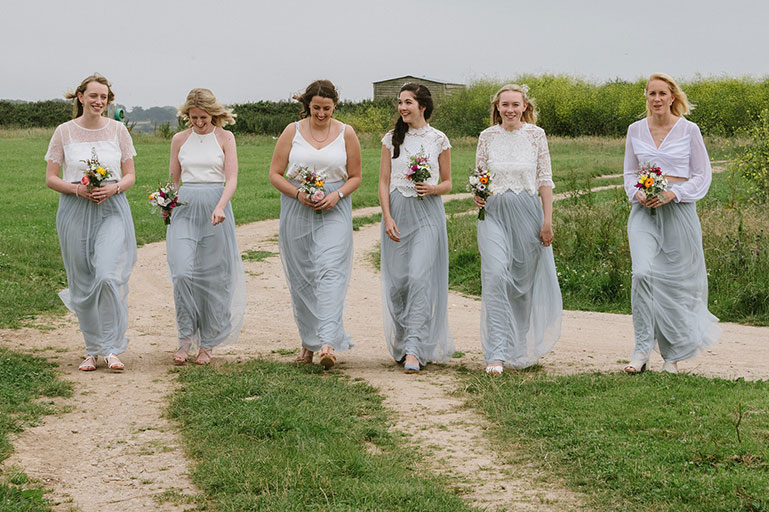 Bridesmaids on wedding day at Mount Pleasant Eco Park