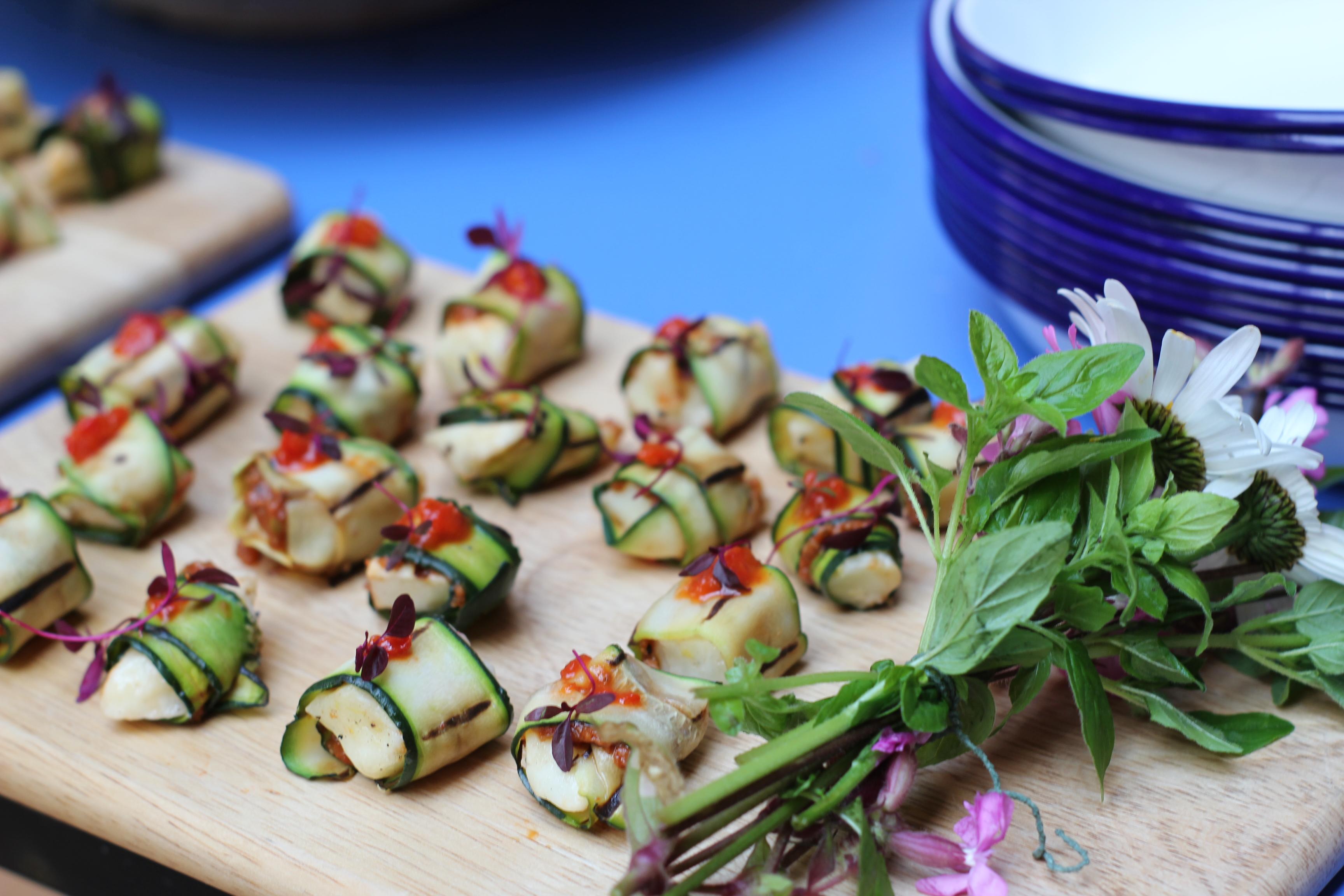 Vegan wedding food platter on wooden board