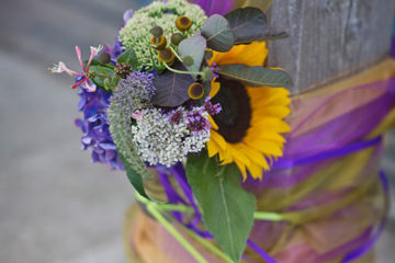 Sunflowers and local cottage garden flowers for wedding