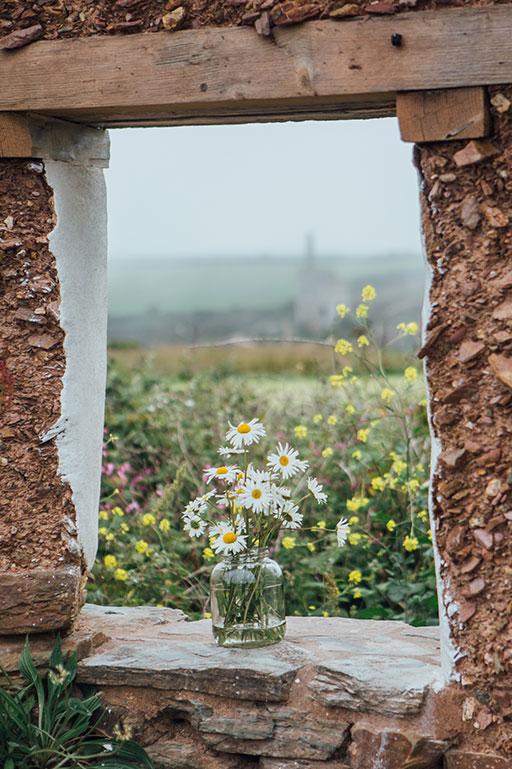 Cornish flowers on wedding day