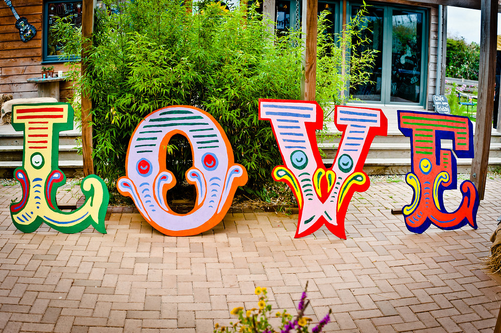 Circus style Love letters at Eco wedding venue