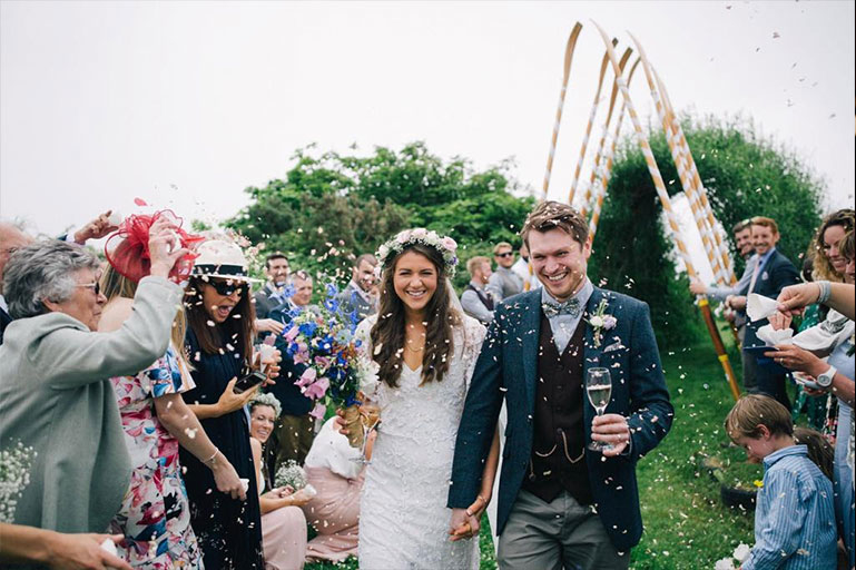Bride and groom wedding day confetti