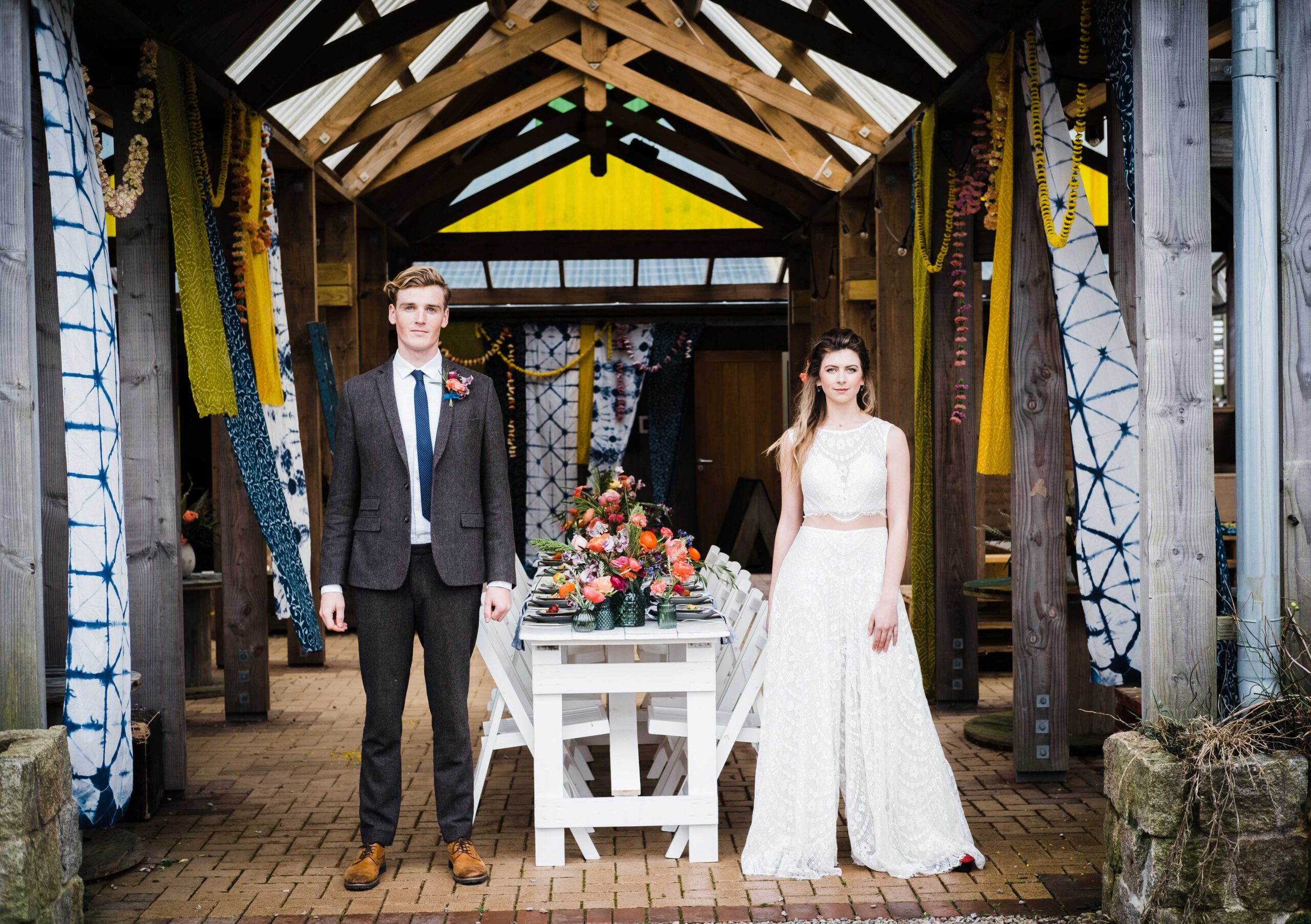 Bride and Groom at rustic wedding venue in Cornwall
