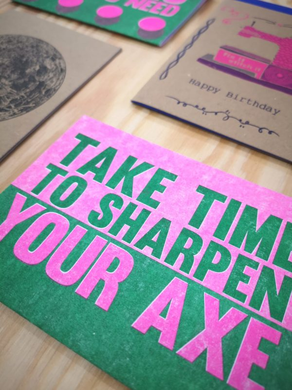 Riso printed pink and green greeting card