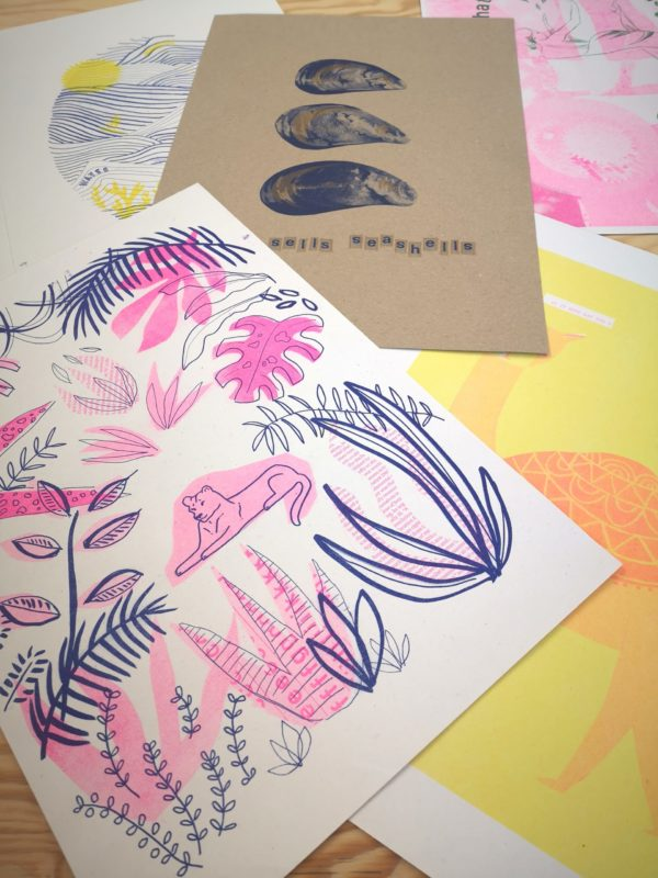 colourful A3 riso print posters