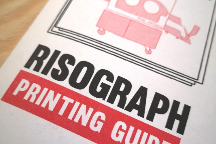 Risograph printing guide red and black font