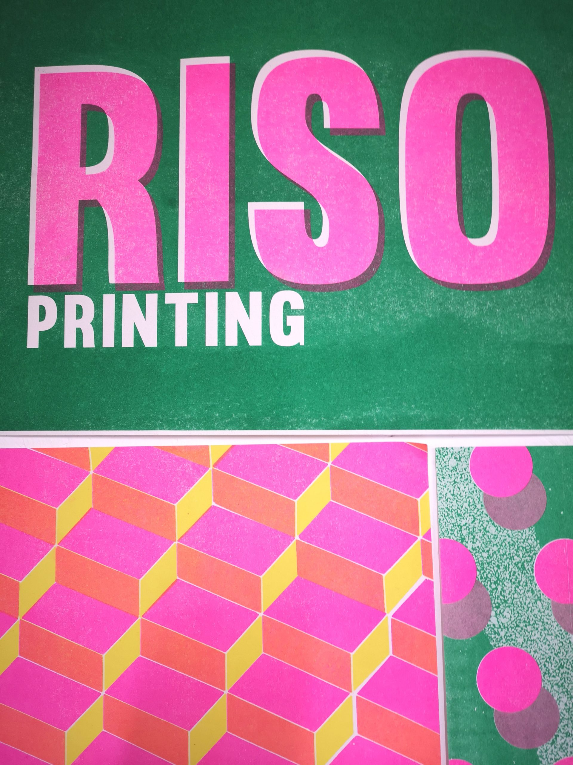 vibrant green and pink riso printing poster