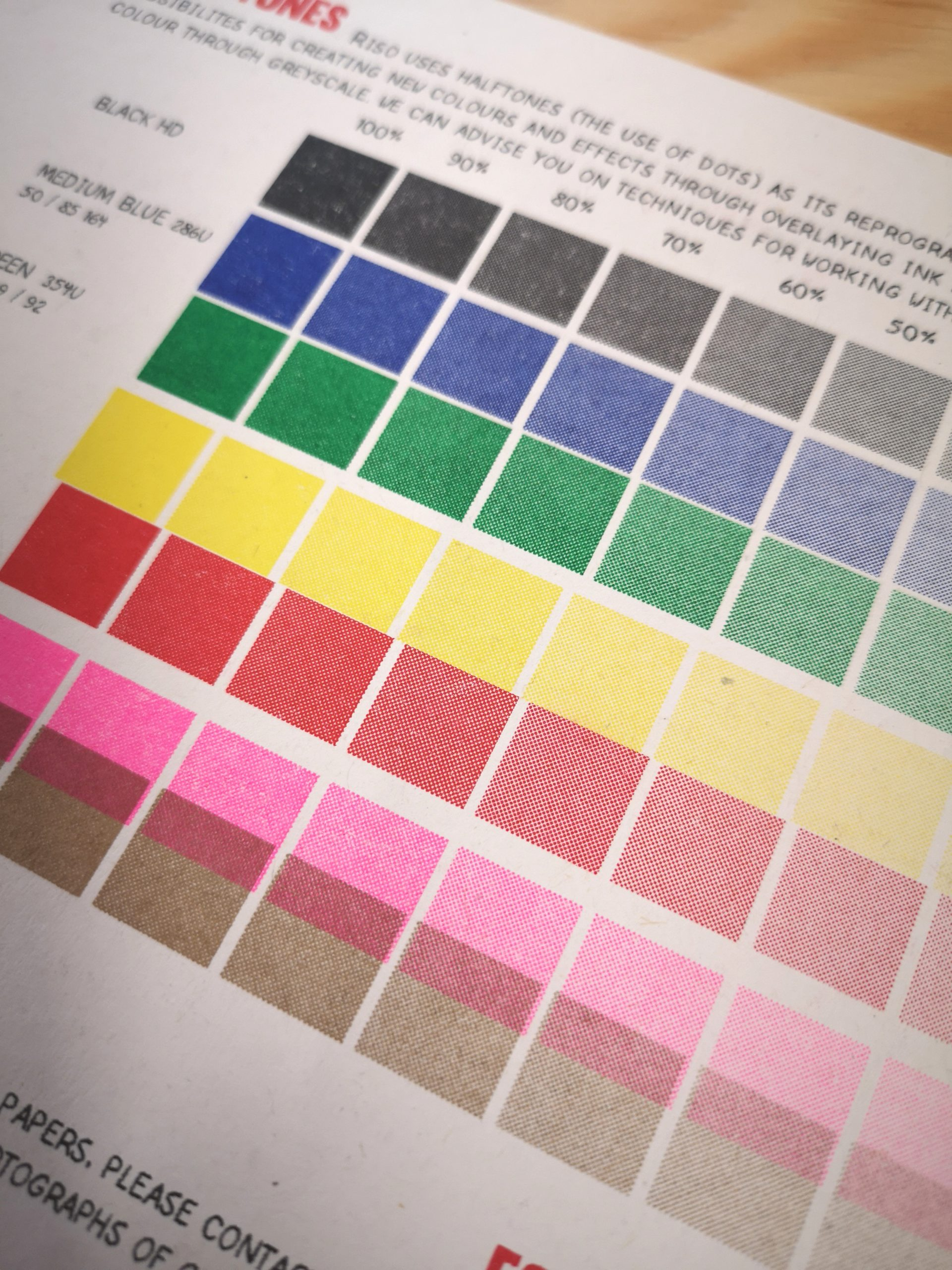 Risograph soya ink colour chart