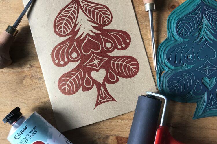 Linocut printmaking Cornwall