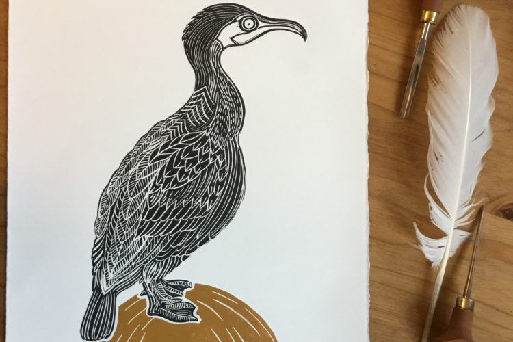 black bird lino print on gold