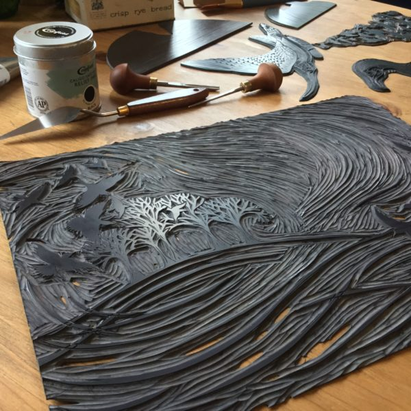 linocut print block in progress workshop